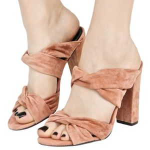 KENDALL & KYLIE BLUSH SUEDE HIGH HEEL MULES 8.5